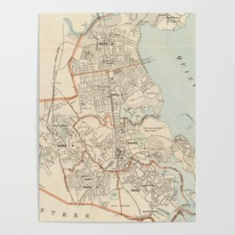 Vintage Map of Quincy MA (1907) Poster