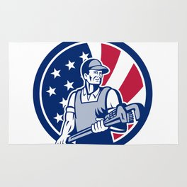 American Plumber and Pipefitter USA Flag Icon Rug