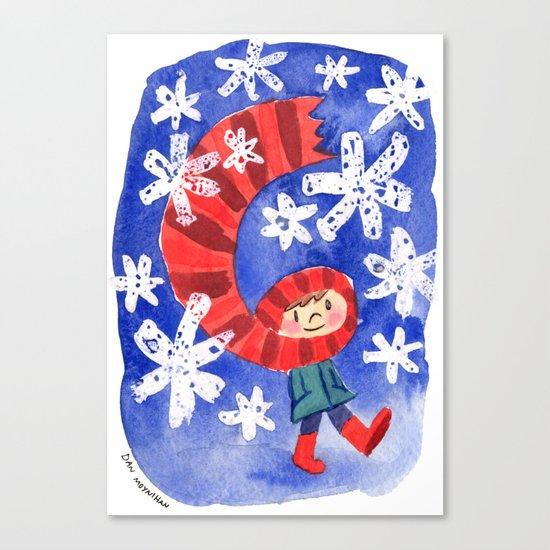 Scarf & Snowflakes Canvas Print