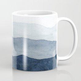 Indigo Abstract Watercolor Mountains Coffee Mug