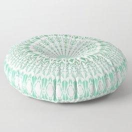 Mint White Geometric Mandala Floor Pillow