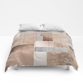Copper and Blush Rose Gold Marble Quadrangle Geometrical Shapes Comforters