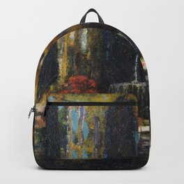 Garden with a Fountain Tuscany floral landscape painting by Thomas Mostyn Backpack