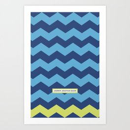 Chevron in Azure and Lime Art Print