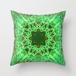 Ornate Green Celtic Mandala Rug Throw Pillow
