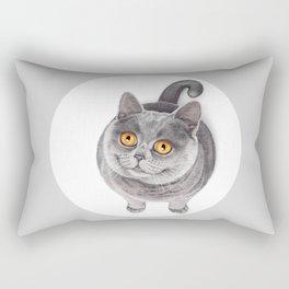 Smiling Rounded Cat Rectangular Pillow