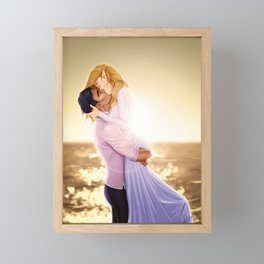 Feyre and Rhysand - A Romantic Sunset Framed Mini Art Print
