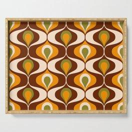 Retro 70s ovals op-art pattern brown, orange Serving Tray