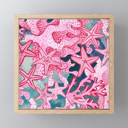 Pink Starfish and coral watercolor reef Framed Mini Art Print
