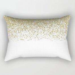 Sparkling gold glitter confetti on simple white background - Pattern Rectangular Pillow