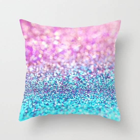 Pastel sparkle- photograph of pink and turquoise glitter Throw Pillow