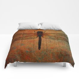 Dragonfly On Orange and Green Background Comforters