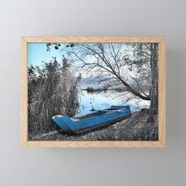 Blue boat Framed Mini Art Print
