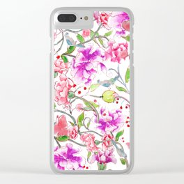 peony pattern Clear iPhone Case
