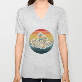 Retro sunset - geology and rock collecting gift Unisex V-Neck