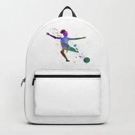 Woman soccer player 03 in watercolor Backpack