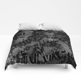 Streetart In The Shadows - Black and Gray Graffiti Comforters