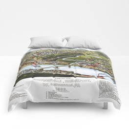 BOSTON MASSACHUSETTS city old map Father Day art print poster Comforters