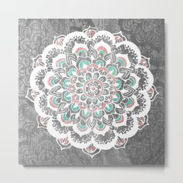 Pastel Floral Medallion on Faded Silver Wood Metal Print