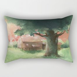 Rural landscape with old oak and farmhouse- Acrylic painting Rectangular Pillow