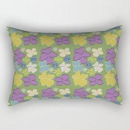 Green Bright Blooms Rectangular Pillow