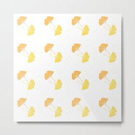 Happy Ginkgo Leaf - I - Yellow, Peach Orange  Metal Print