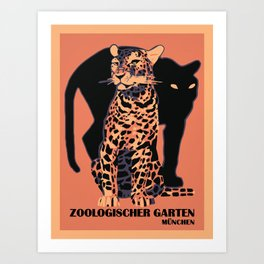 Retro vintage Munich Zoo big cats Art Print