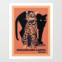 Retro vintage Munich Zoo big cats Art Print