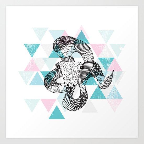 Geometric snake attack Art Print