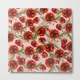 Poppy Pattern On Pink Background Metal Print