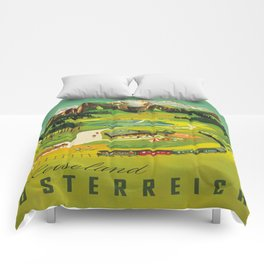 Austria Vintage Mid Century Modern Travel Poster Beautiful Green Mountain Landscape Diagram Comforters