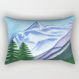 Two mountain spruce against the backdrop of snow-capped peak Rectangular Pillow