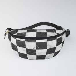 Marble Checkerboard Pattern - Black and White Fanny Pack