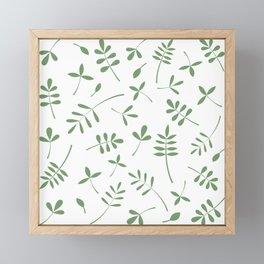 Green Leaves Design on White Framed Mini Art Print