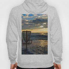 Disc Golf Basket Chesapeake Bay Virginia Beach Ocean Sunset Hoody