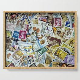 Postage Stamp Collection Serving Tray
