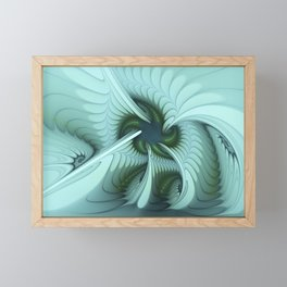 Green Lights in a blue Fantasy Fractal Framed Mini Art Print