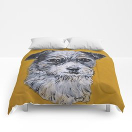Terrier Mix Dog Portrait Comforters