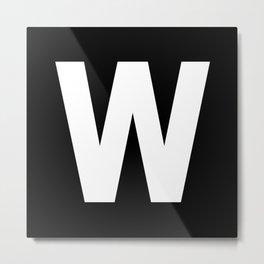 Letter W (White & Black) Metal Print