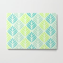 Abstract Lotus - Mint and Aqua Metal Print