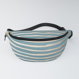 Abstract Stripes Gold Tropical Ocean Blue Fanny Pack