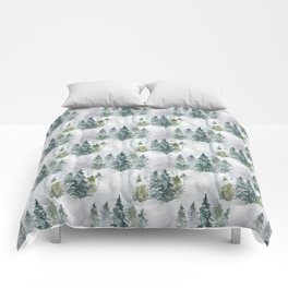Watercolor forest green snow Christmas pine tree Comforters