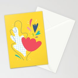 Abstract flower and leaves bouquet Stationery Cards