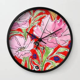 Cosmos in Red Wall Clock