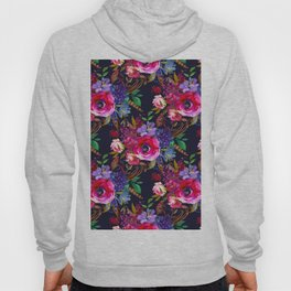 Colorful bohemian pink blue lilac watercolor roses Hoody