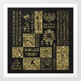 Egyptian  hieroglyphs and symbols gold on black leather Art Print