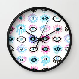 Evil Eyes Pink  Wall Clock