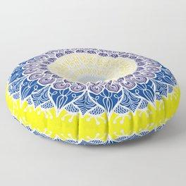 yellow blue mandala Floor Pillow