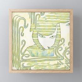 Eqyptian Style Girl Green Framed Mini Art Print