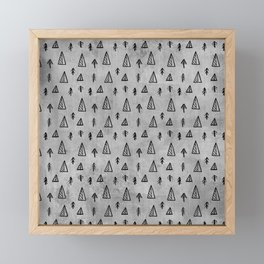 Black abstract tree pattern on concrete  - Mix&Match with Simplicty of life Framed Mini Art Print